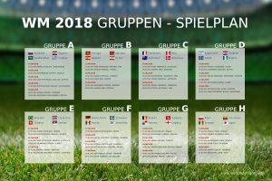 Spielplan Fussball Weltmeissterschaft 2018 in Russland - Gruppenspiele